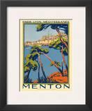 Menton, Paris - Lyon - Méditerrenée: France Railway Company, c.1920s Art by Roger Broders