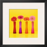 Four Flowers and Yellow Background Posters by Camille Soulayrol