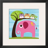 Elephant with Three Owls Poster by Nancy Lee