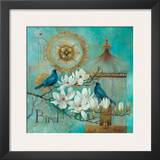 Blue Birds and Magnolia Prints by Elaine Vollherbst-Lane