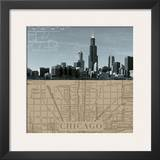 Chicago Map I Posters by  The Vintage Collection