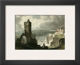 Caldy Island, from Tenby Castle Print by T. Allom