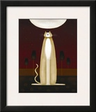 Feline and Four Tulips Print by Jo Parry
