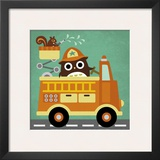Owl in Firetruck and Squirrel Prints by Nancy Lee