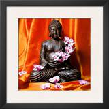 Buddha with Flowers Print by Stephane De Bourgies