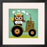Owl on Tractor Poster by Nancy Lee