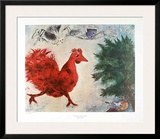 The Red Cock Posters by Marc Chagall