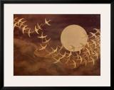 Cranes Over Moon Print by Keiichi Nishimura