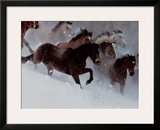 Horses in the Snow Prints by David R. Stoecklein