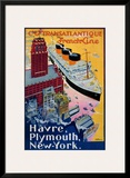 Transatlantique, French Line, Paris-Havre-New York Art by Albert Sebille