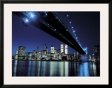 Brooklyn Bridge at Night Poster by Henri Silberman