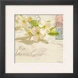 Vintage Letter and Apple Blossoms Poster by Deborah Schenck