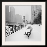 Chicago River Promenade in Winter Poster by Dave Butcher
