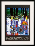 Imagine Tomorrows World (blue) Poster by Friedensreich Hundertwasser