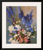 Larkspur, Peonies, And Poster by Laura Coombs Hills
