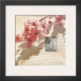 Vintage Letters and Cherry Blossoms Print by Deborah Schenck