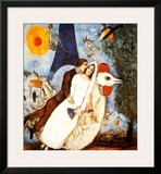 Les Fiancees de la Tour Eiffel Art by Marc Chagall