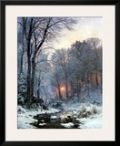 Twilit Wooded River in the Snow Prints by Anders Andersen-Lundby