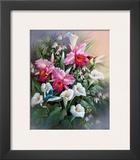 Hummingbirds with Lilies Prints by T. C. Chiu