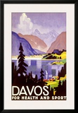 Davos Swiss Alps Ski Resort Framed Giclee Print
