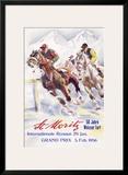 Horse Race, St. Moritz Framed Giclee Print by Hugo Laubi