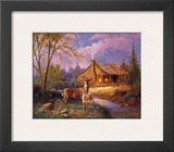 Deer Near Cabin Prints by M. Caroselli