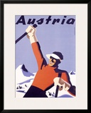 Austria Ski Vacation Framed Giclee Print by Joseph Binder