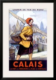 Port Calais Fishing Women Framed Giclee Print