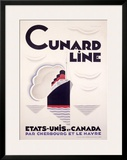 Cunard Line, U.S to Canada Framed Giclee Print