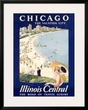 Chicago Illinois Central Train Framed Giclee Print