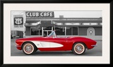 1961 Chevrolet Corvette at Club Cafe on Route 66 Print