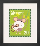Animal Stamps - Monkey Poster by Jillian Phillips
