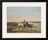 Scenery pf Rivere Isar with View at Munich Print by Wilhelm Alexander Wolfgang Kobell