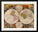 New World Map, 17th Century Posters by Nicholas Visscher
