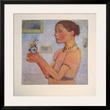 Junges Mädchen mit gelben Blumen im Glas Poster by Paula Modersohn-Becker