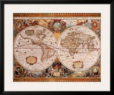 Antique Map, Geographica, c.1630 Prints by Henricus Hondius