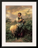 The Young Shepherdess Art by Johann Baptist Hofner