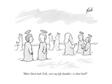 """""""Wait. Don't look. O.K., over my left shoulder—is that God?"""" - New Yorker Cartoon Premium Giclee Print by Tom Toro"""