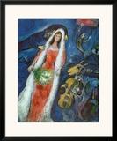 La novia (La Mariee) Lámina por Marc Chagall