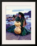 Grateful, Hula Girl with Ipu Drum, Hawaii Framed Giclee Print by Ronald Laes