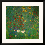 Farm Garden with Sunflowers, c.1912 Posters by Gustav Klimt