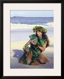Patience, Hula Girl, Maui, Hawaii Framed Giclee Print by Ronald Laes