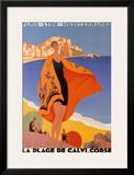 La Plage de Calvi Posters by Roger Broders