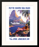 Fly to the South Seas Isles, via Pan American Airways, c.1940s Framed Giclee Print by Paul George Lawler