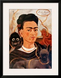 Self-portrait with Monkey Print by Frida Kahlo