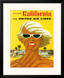 Fly United Air Lines: Southern California, c.1955 Framed Giclee Print by Stan Galli