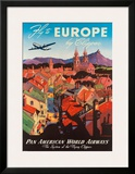Pan American: Fly to Europe by Clipper, c.1940s Framed Giclee Print by M. Von Arenburg
