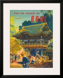 British Overseas Airways Corporation: Fly to Japan by BOAC, c.1950s Framed Giclee Print by Frank Wootton