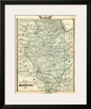 Official Railroad Map of the State of Illinois, c.1876 Prints by  Warner & Beers