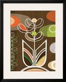 Peony Motif Framed Giclee Print by Linda Ketelhut